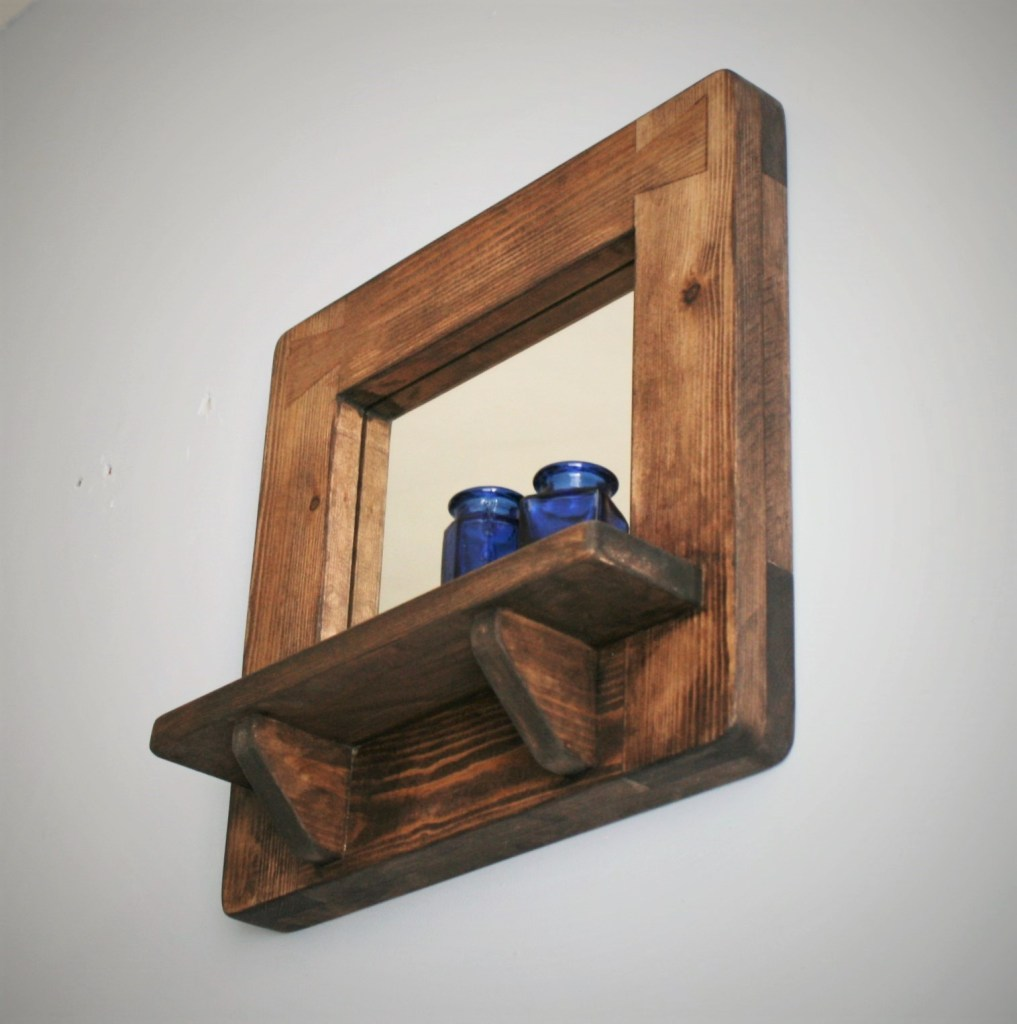 Handmade wall mirror with shelf in sustainable natural wood by Marc Wood Joinery in Somerset.