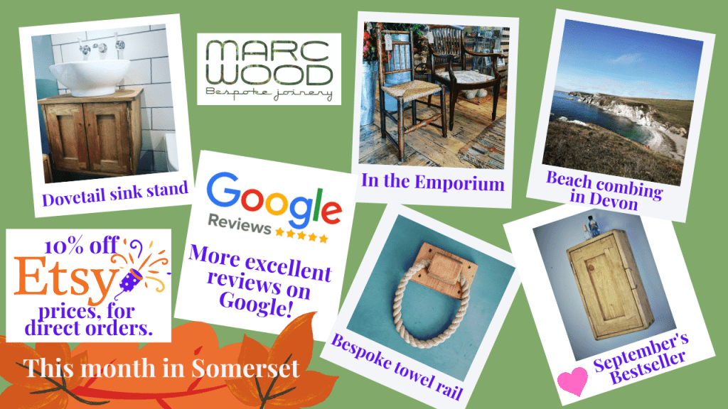 Welcome to our early autumn news from Marc Wood Joinery in Somerset. We have been busy crafting our handmade wooden furniture, selling from the Ilminster Emporium and getting design inspiration from our favourite Devon beaches. This month we feature our bespoke wooden sink stand bathroom cabinet and 5 star reviews for our wooden wall mirror with shelf.