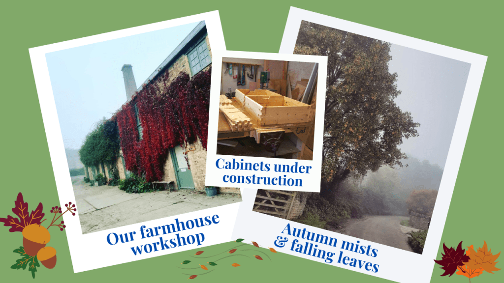 Our workshop at Flaxdrayton Farm may be chillier in the Autumn months, but it can also be very beautiful with a frosty morning sparkle or an eerie mist in the afternoon and we have taken some really atmospheric photos over the years.