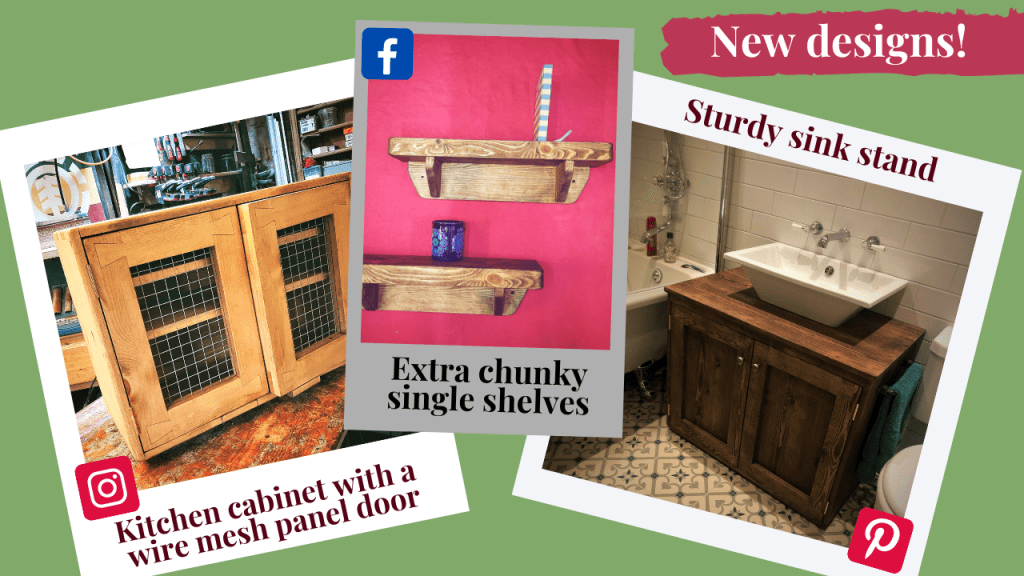 We have adapted some of our classic designs for a new twist on our well loved pieces. Our chunky kitchen wall cabinet has been fitted with a wire mesh panel in place of the glass for a rustic farmhouse look and our single wall shelves have been give an extra 2 cm of thickness to really bring out the character of the natural wood. We have made several substantial sink stands in our signature dovetail style, but this is the first in our rich dark Danish Oil finish and we think that our customers choice of antique style metal handles and wrought iron towel rail suit this bespoke piece very well.