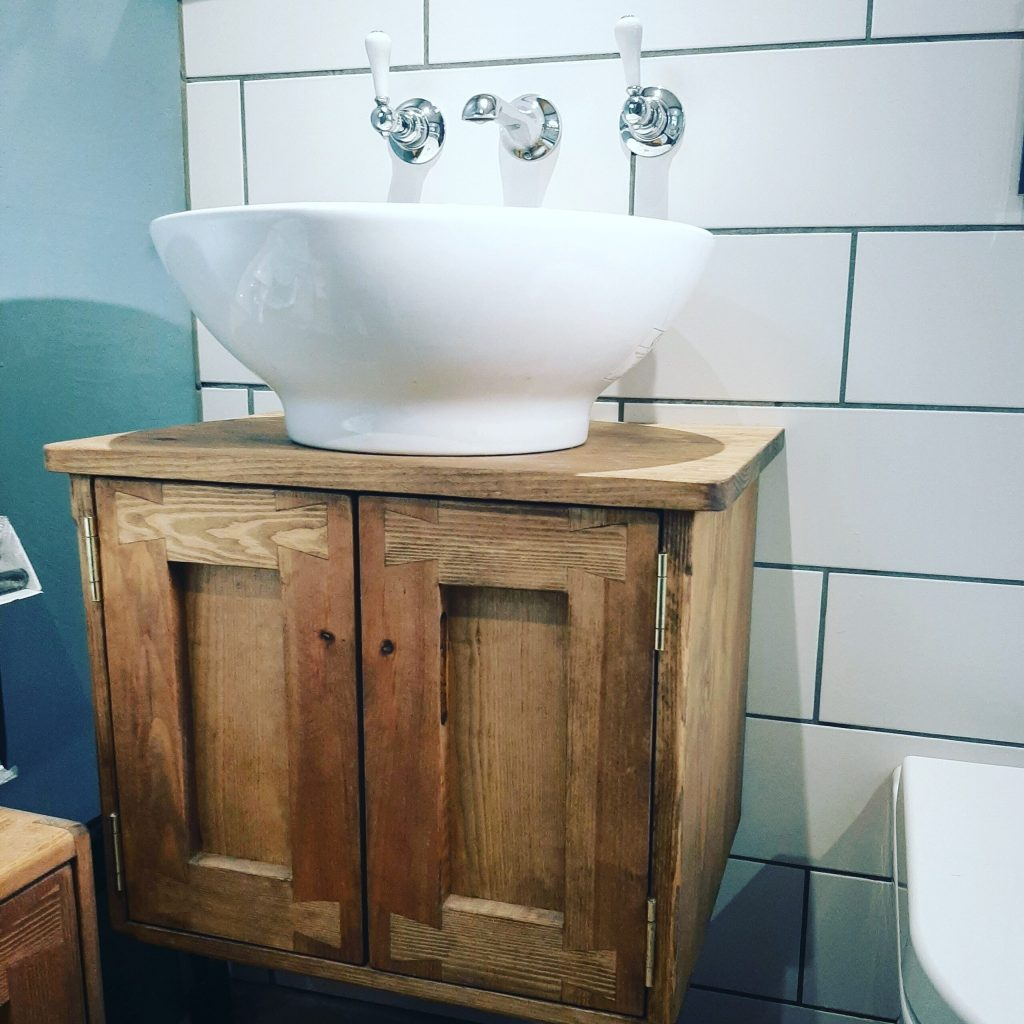 Sink stand vanity, wall mounted in the modern rustic, farmhouse style. Custom handmade from natural sustainable solid wood by Marc Wood Joinery in Somerset UK.