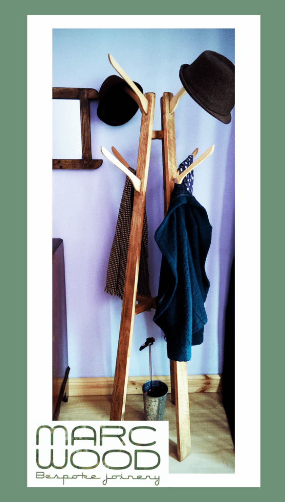 Hatstand hall tree in sustainable natural wood. Our modern rustic hallway furniture is custom handmade to order by Marc Wood Joinery in Somerset UK, buy from our online shop.