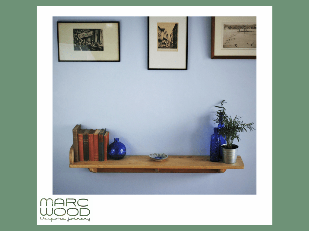 Long bookends shelf in sustainable natural wood. Our modern rustic hallway furniture is handmade by Marc Wood Joinery in Somerset UK, buy from our online shop.