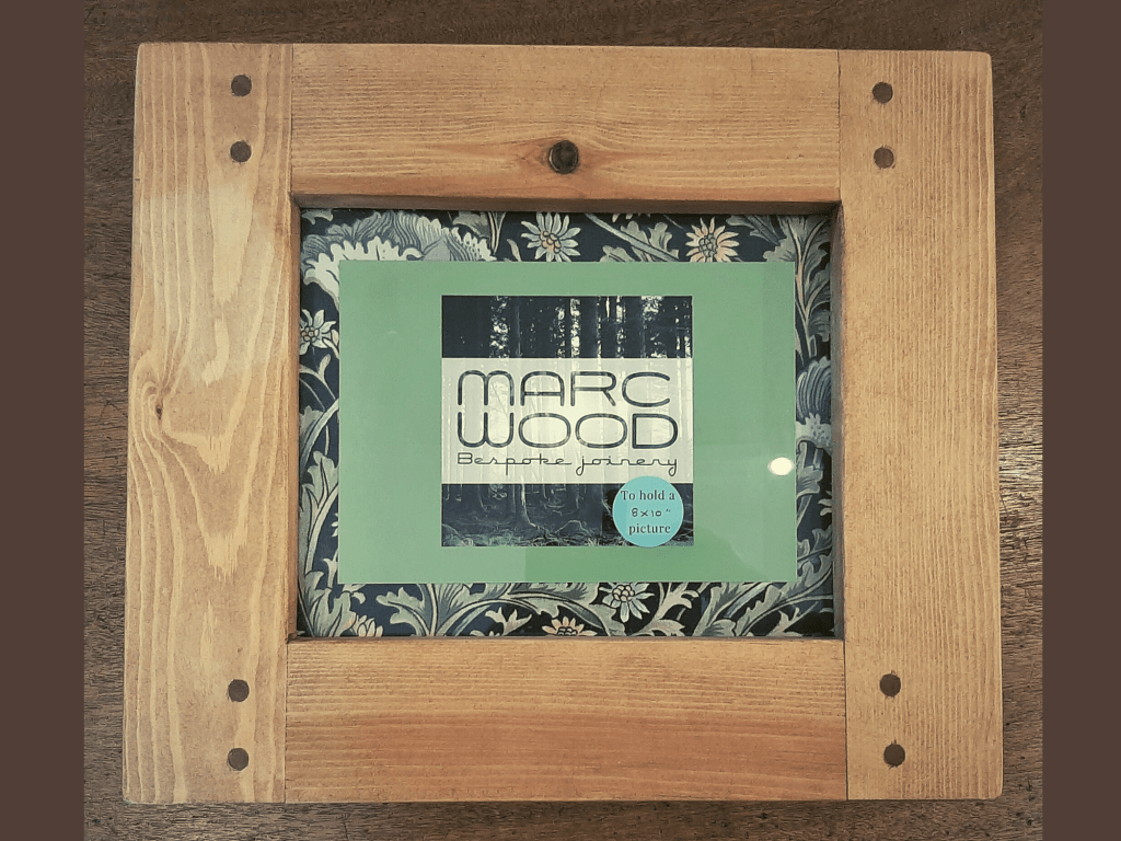 Chunky wooden photo and picture frame for A4, 8 x 10 size, handmade from rustic natural wood in Somerset UK