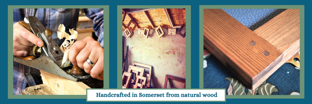 Our picture frames are handmade in Somerset by us at Marc wood Joinery UK in the modern rustic style from natural wood