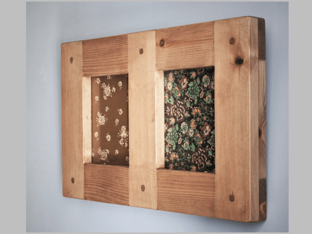 Wooden multi aperture double picture and photo frame 10 x8, A4 size double frame, handmade from rustic natural wood in Somerset UK