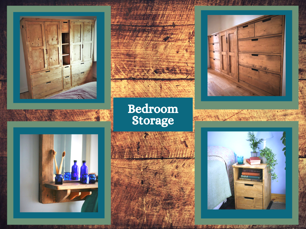 Wooden wardrobe, drawers and bedside table, modern rustic, custom handmade by Marc Wood Joinery in Somerset UK