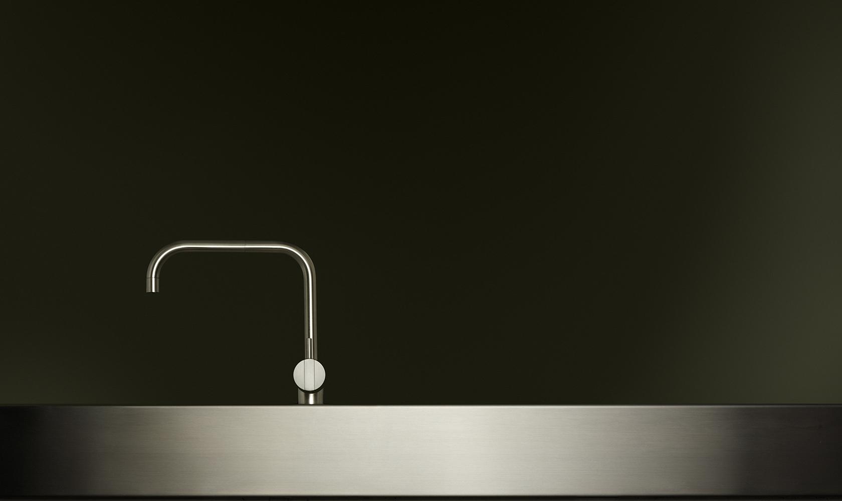 Kitchen design stainless steel Vola tap hob sink stylish design dark