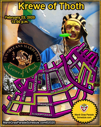 Krewe of Thoth Parade Route, Feb. 14, 2010
