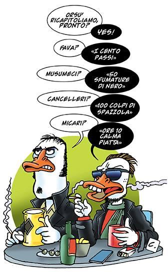 Vignetta di Dario Corallo sui candidati presidente alle elezioni regionali in Sicilia 2017