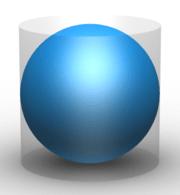 الكرة لها 2/3 مساحة سطح وحجم الأسطوانة المحتوية لها. وقد تم نحت كرة وأسطوانة على قبر أرخميدس بناء على وصيته.