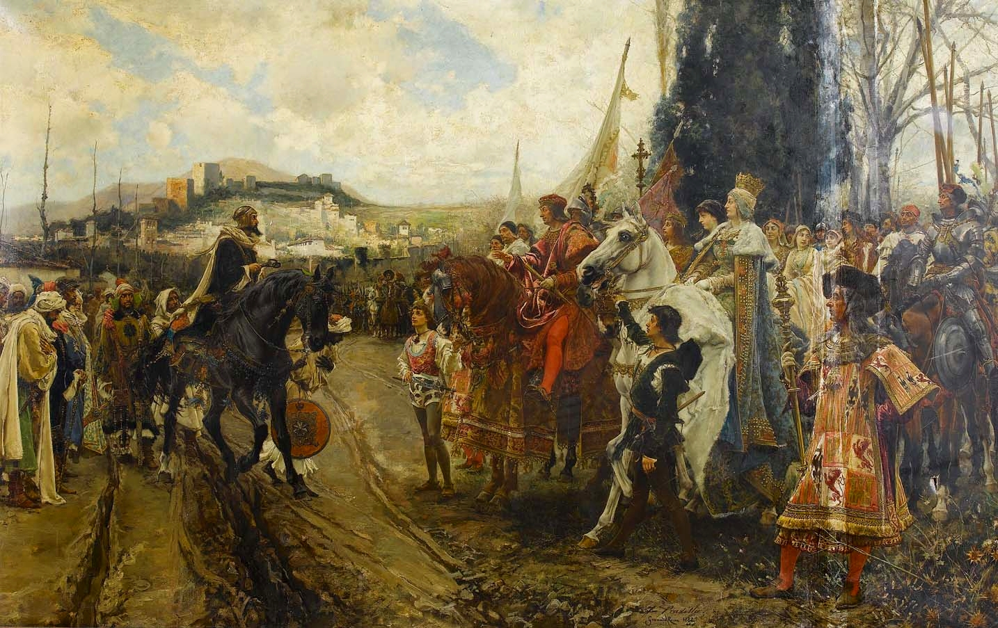 استسلام غرناطة: لوحة زيتية لپاديا توضح استسلام أبو عبد الله لفرديناند الثاني وإيزابلا