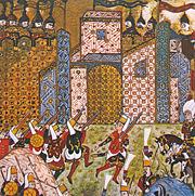 Gun-wielding Ottoman Janissaries and defending Knights of Saint John, Siege of Rhodes, 1522.