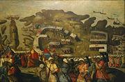 حصار مالطة في 1565: وصول الأسطول العثماني، بريشة ماتيو پرز دالتشيو