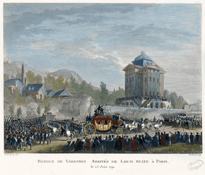 The return of the royal family to Paris on June 25 1791, colored copperplate after a drawing of Jean-Louis Prieur
