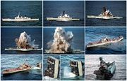 A sequence of photos showing the decommissioned Australian warship HMAS Torrens sinking after being used as a target for a submarine-launched torpedo.