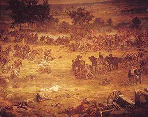 معركة جيتيسبورج وقعت بين الجيش الاتحادي وجيش الجنوب في ولاية بنسلفانيا في يوليو 1863م. وكان تقهقر الجيش الجنوبي إثر الخسارة الفادحة التي أصابته يشكل نقطة تحول في الحرب الأهلية الأمريكية، إذ لم يعد باستطاعة جيش الجنوب إثر هذه الخسارة أن يقوم بشن أي هجوم رئيسي آخر.