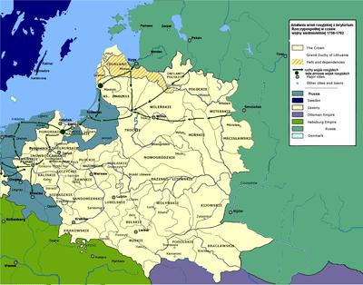 عمليات الجيش الروسي من المناطق البولندية أثناء حرب السوات السبع 1756-1762. الأسهم الخضراء هي التحركات الروسية, والدوائر الخضراء هي القواعد الروسية.