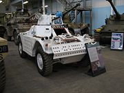 A British armoured car painted as it appeared while deployed on a UN peacekeeping mission