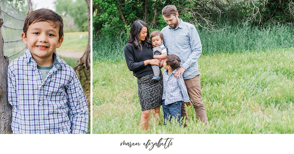 Family pictures session of a family of four at the Wheeler Historic Farm in Murray, UT. | Arizona Family Photographer | Maren Elizabeth Photography