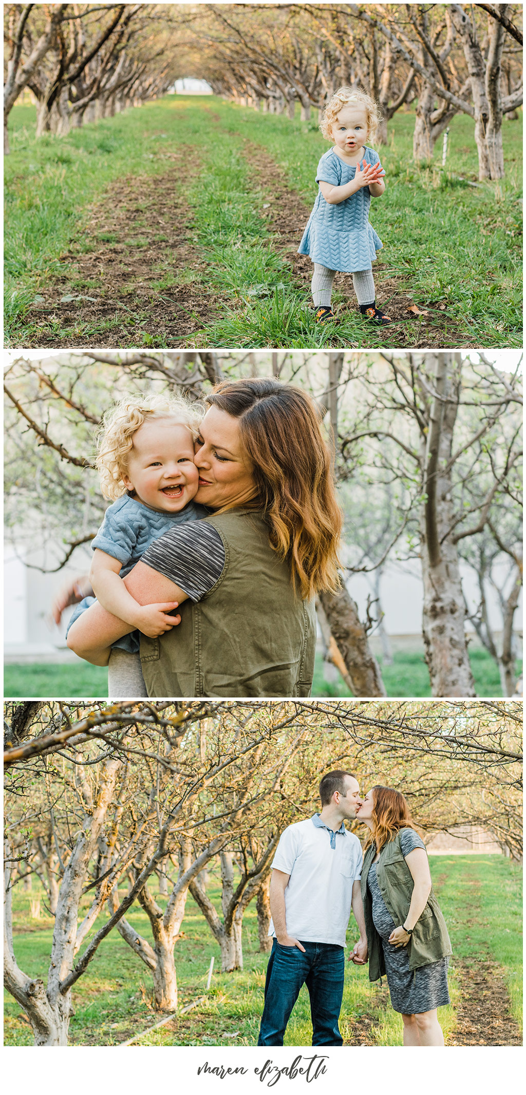 Family Pictures in a Spring Orchard. Maternity Family Pictures with Toddler | Arizona Family Photographer | Maren Elizabeth Photography