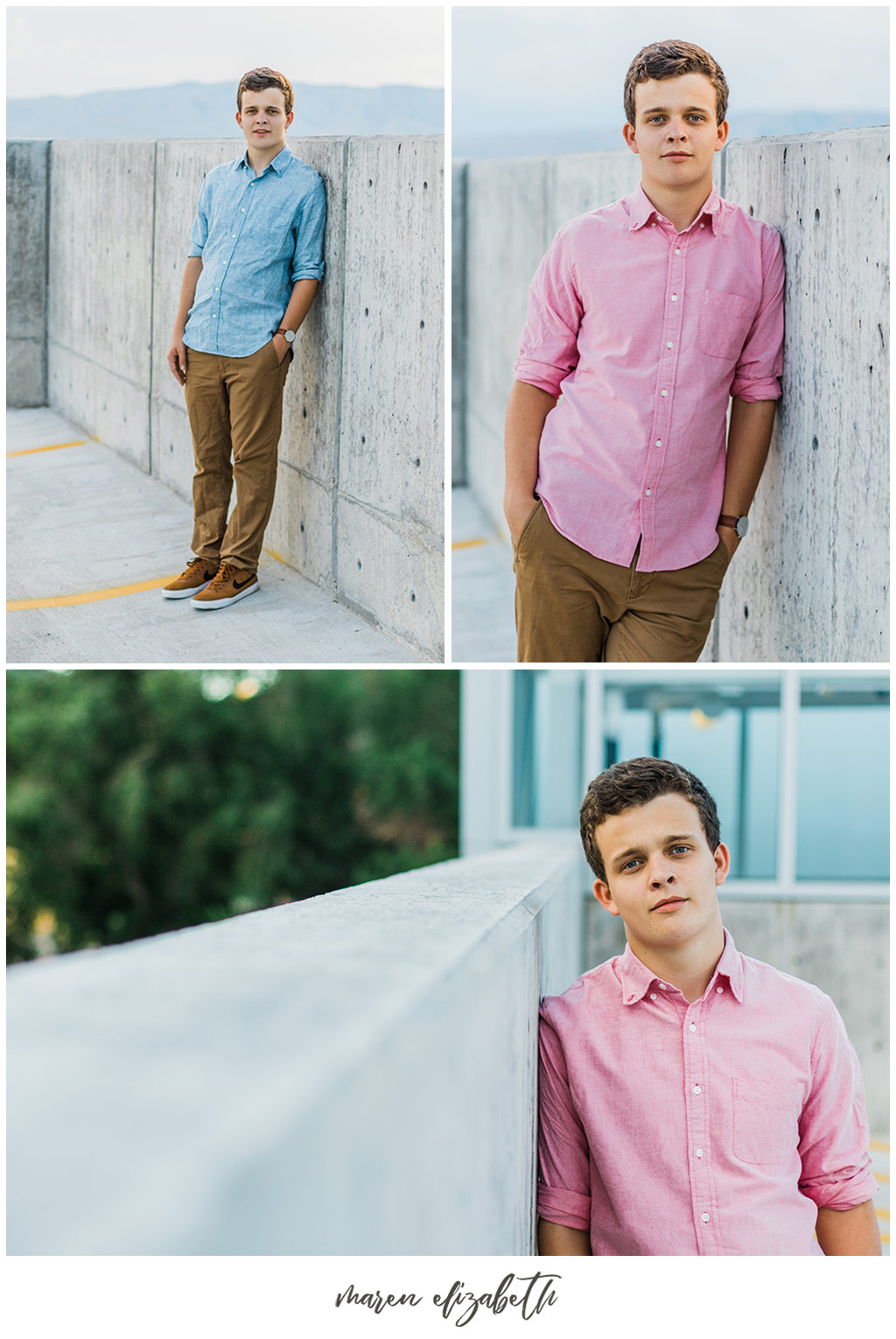UVU boy senior pictures by Maren Elizabeth Photography taken on the top level of the Utah Valley University parking garage. | Arizona Senior Photographer