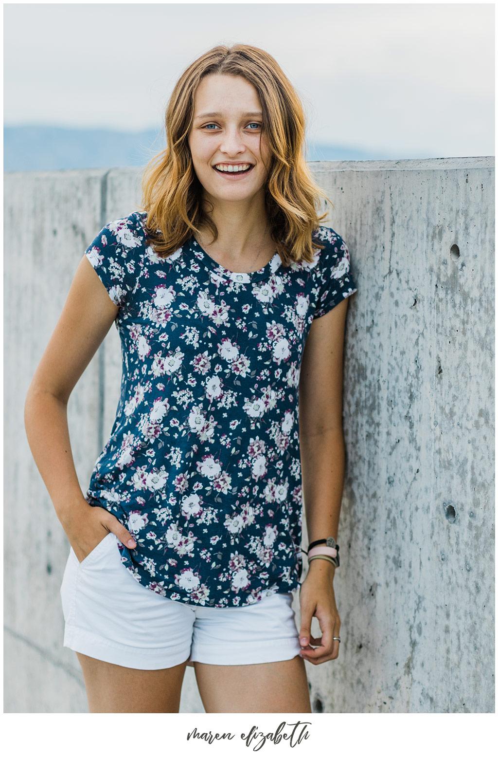 Portraits by Maren Elizabeth Photography taken on the top level of the Utah Valley University parking garage. | Arizona Senior Photographer
