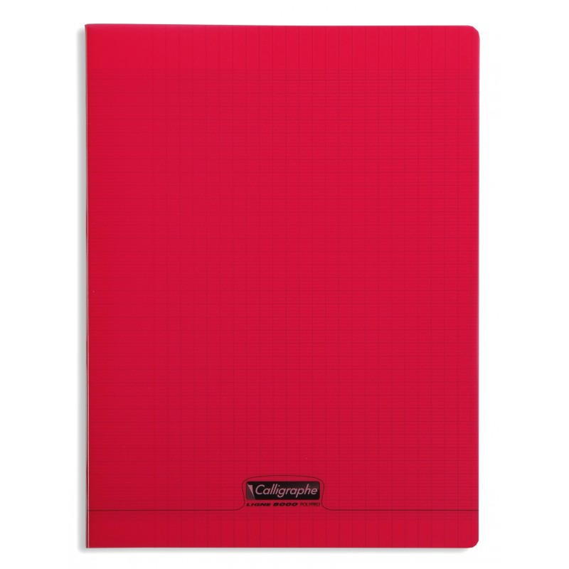 cahier polypro calligraphe grand format 24x32 192p grands carreaux seyes rouge