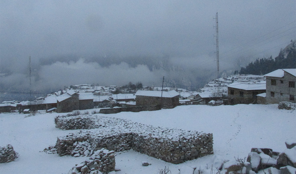 हुम्लामा भारी हिमपात, हवाई सेवा बन्द  र सुदूरपश्चिमका पहाडी जिल्लामा हिमपात :