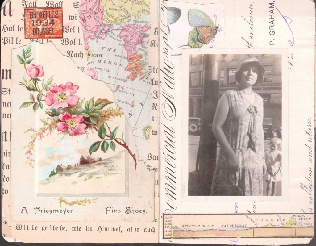 A spread of colorful collages