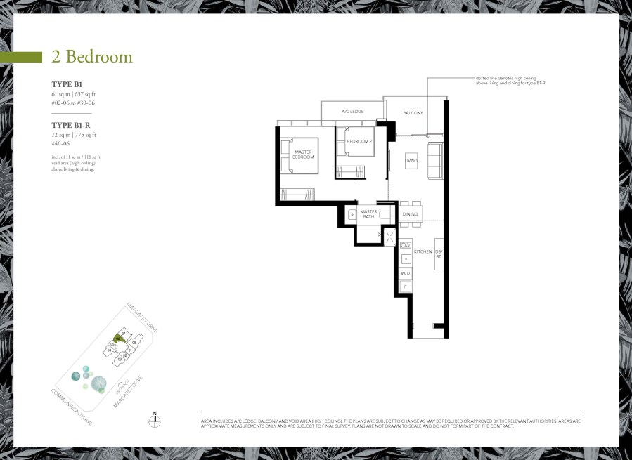 Margaret Ville 2 Bedroom Floor Plans Type B1, B1-R