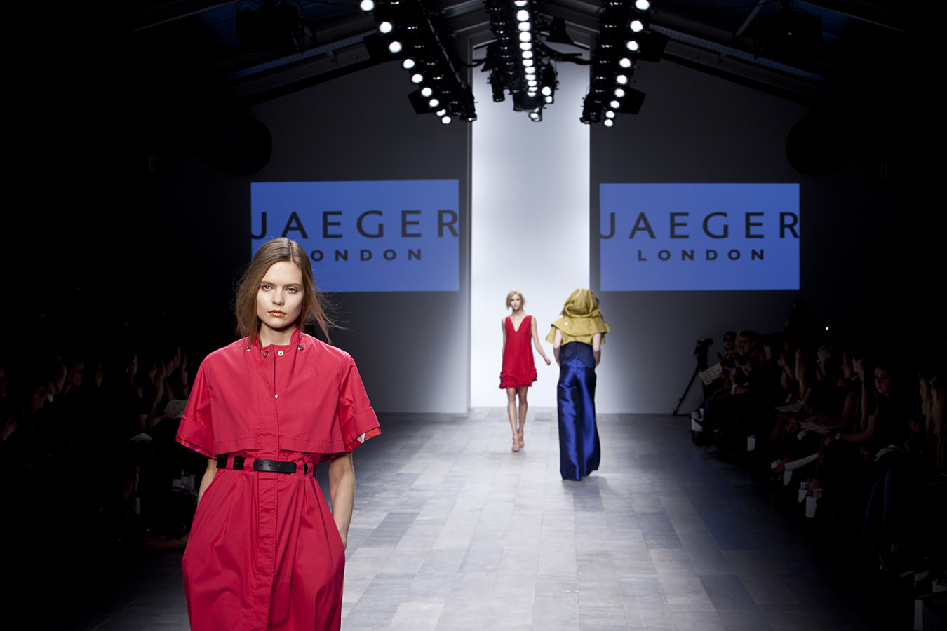 London Fashion Week Jaeger Catwalk Show photo by Margaret Yescombe Photographer London