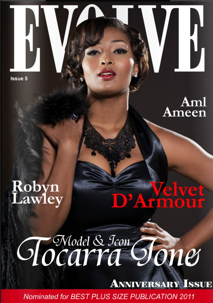 Photo: Celebrity magazine cover photo, Evolve Magazine, plus sized model, Model, celebrity, America's Next Top Model, contestant, Toccara Jones, photographed for Evolve Magazine, Photography by Margaret Yescombe Studio Photographer London
