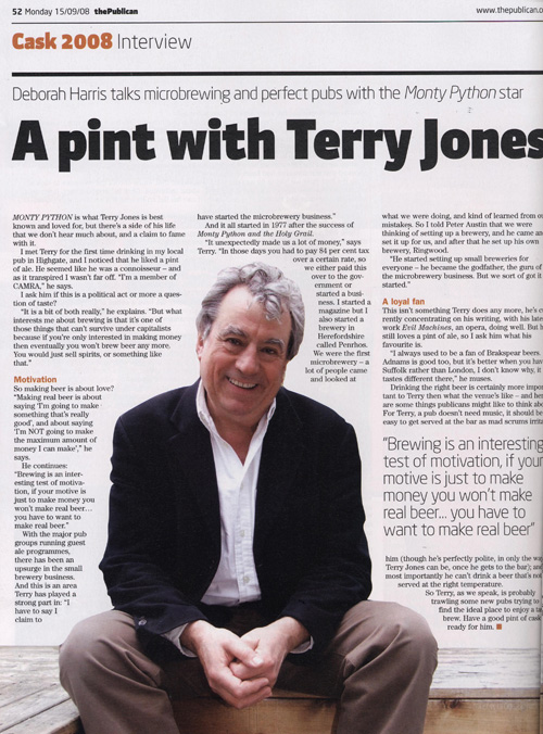 Photo: portrait of Terry Jones, famous for Monty Python, happy, smiling, in his garden in Highgate home