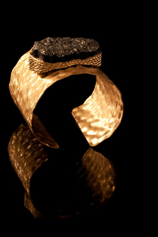 Studio product / still life jewellery photography - metal cuff with lava rock set