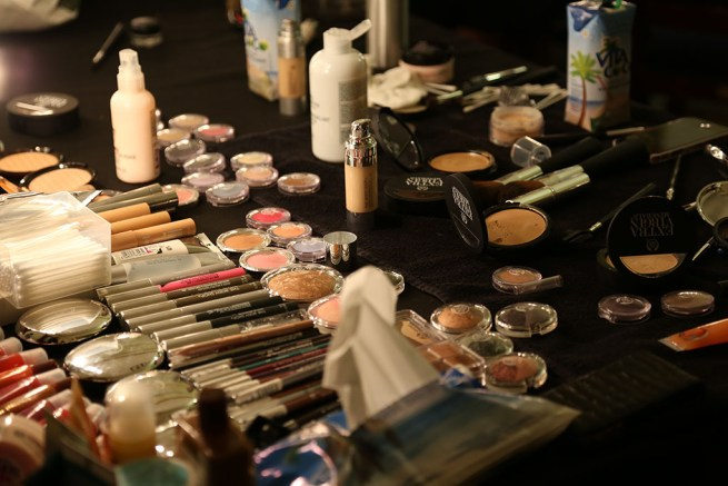 Photo: behind the scenes, make-up station, Fashion Scout, London Fashion Week