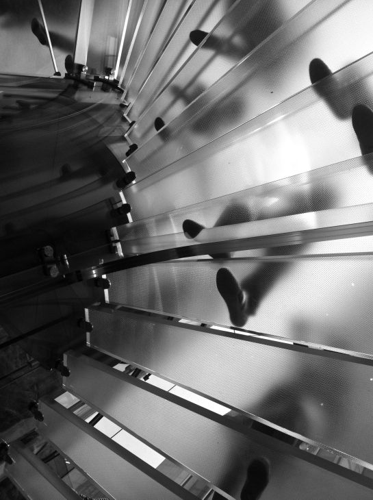 Photo: Apple Store New York City, black and white image, glass staircase people footsteps, iPhone photo, by London Fashion Photographer Margaret Yescombe
