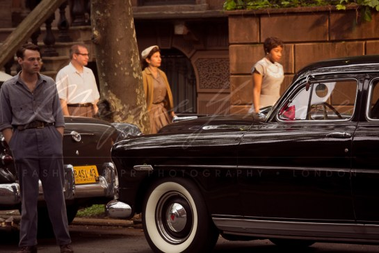 Photo: behind the movie scenes, filming the making of Brooklyn the movie, New York. Actors and Actresses in period costume, Brooklyn brownstones, vintage cars