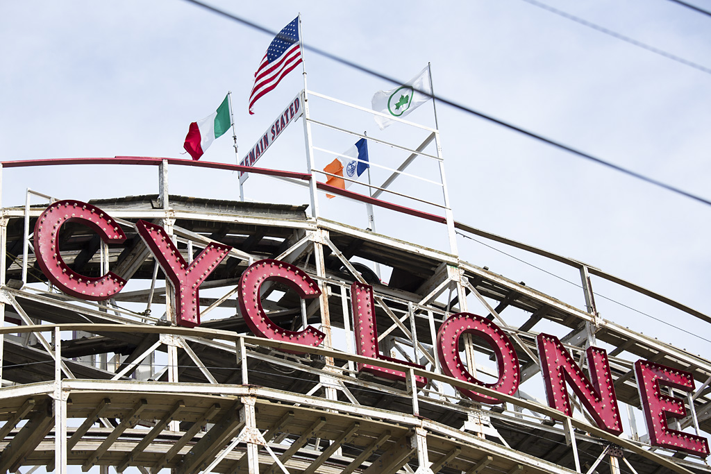 Photo: the Cylone, fairground ride, amusement park, Coney Island Beach, Brooklyn, New York, beach re-opens, memorial day weekend, travel and documentary photography by fashion and pr photographer Margaret ( Maggie ) Yescombe, London UK