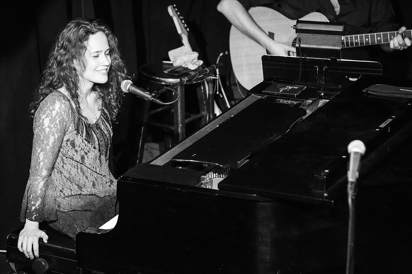 Photo: black & white image, by Photographer Margaret Yescombe, musician performing at piano, Natalie Smith, Upper Manhattan NYC New York