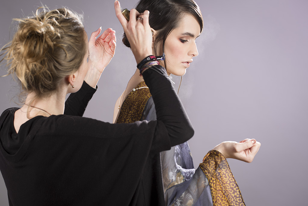 Photo: by Fashion campaign photographer Margaret (Maggie) Yescombe, 'Kimono', behind the scenes in her photographic studio in Clapton, Hackney, East London. Model: Elisabeth, Make-Up Artist (MUA) Hairstylist: Dorota Nowacka