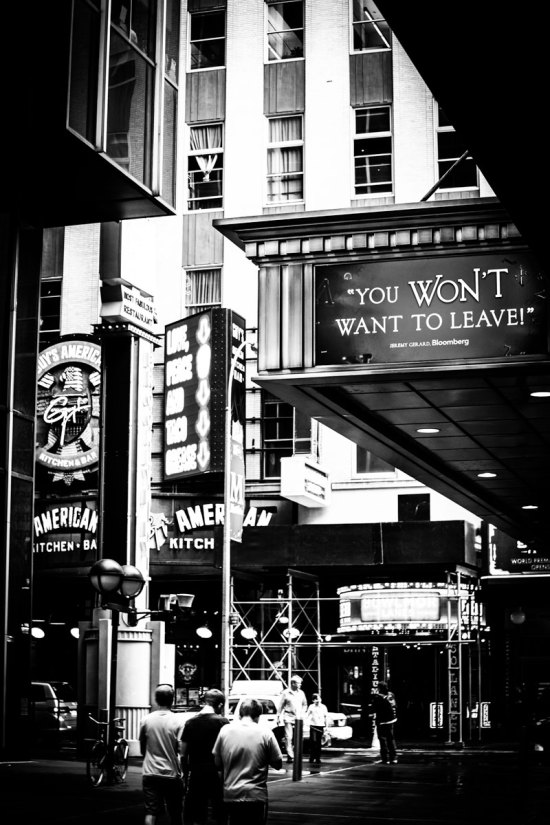 Photo: Broadway Theatre, New York, NYC, USA, show, British Photographer visiting from London Margaret Yescombe, signage, people, streets