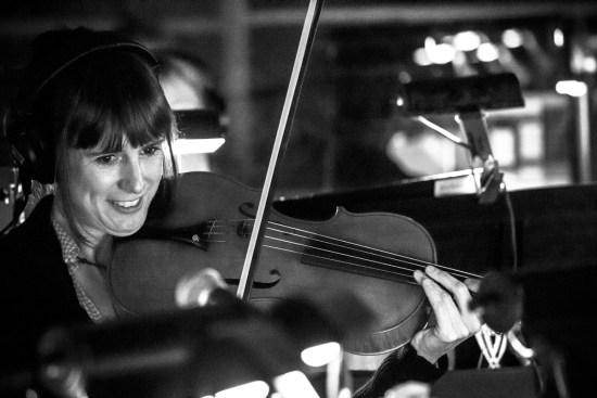 Photo: British Photographer Margaret Yescombe visiting from London, UK, photographed Matilda Orchestra Pit Broadway musician Jonny Dinklage