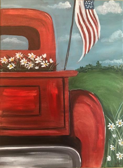 Patriotic Truck & Daisies