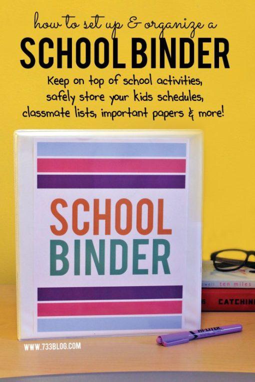 Se créer un endroit unique (comme un cartable) avec tout ce qui est en lien avec l'école et les enfants: les horaires, les coordonnées des amis, les rendez-vous, les papiers importants... (Source: Seven Thirty Three)