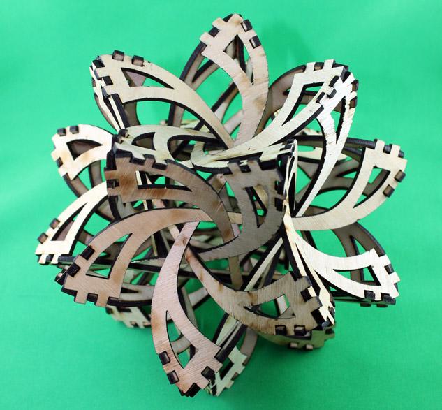 Laser cut frabjous tetrahedron sculpture