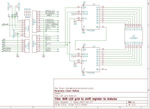 8x8 LED grid schematic