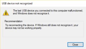 USB Device Not Recognized - Device Descriptor Request Failed