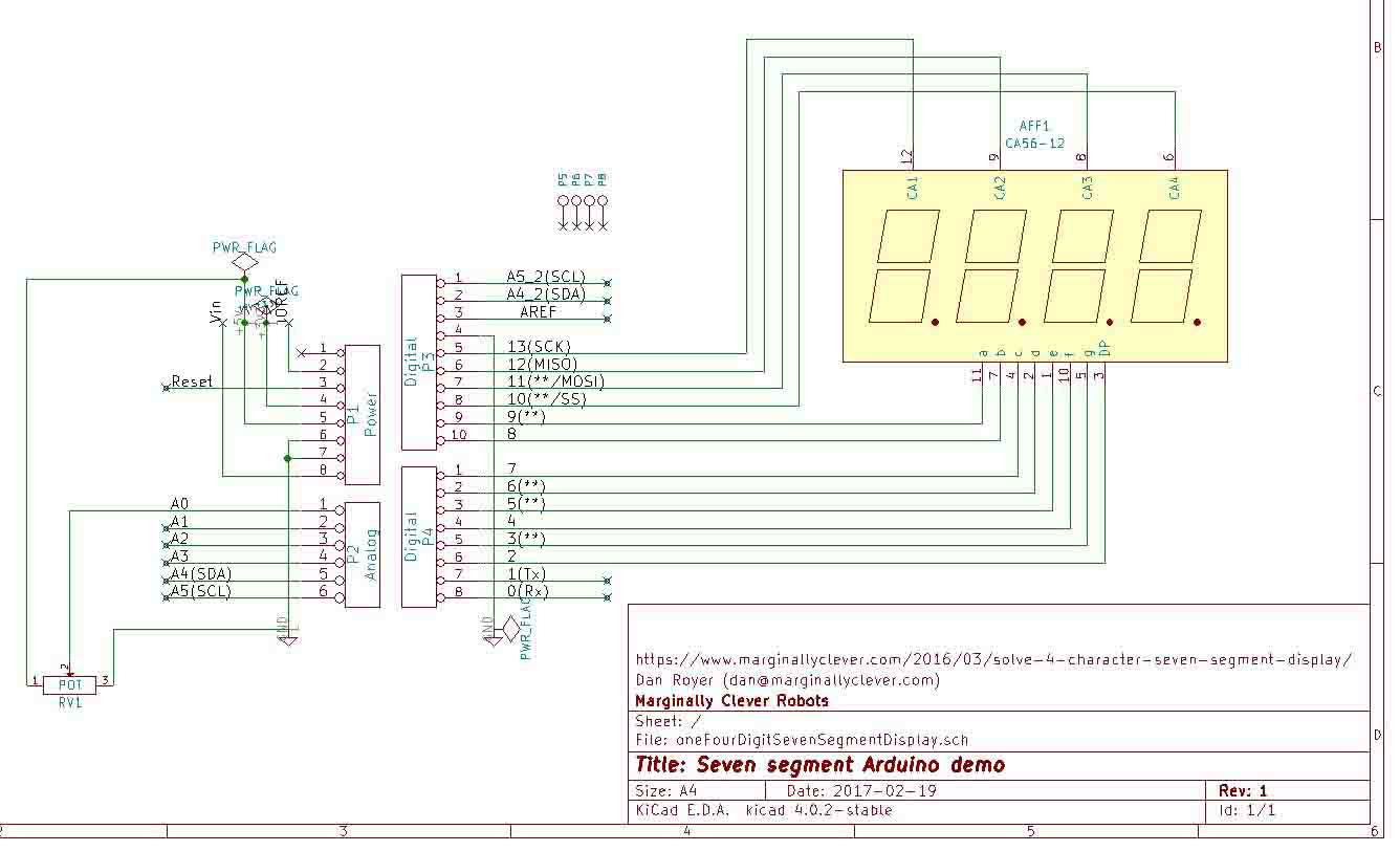Shift Registers And Seven Segment Displays In Arduino Marginally 7 Clock Circuit Diagram One Display Schematic