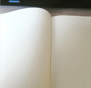 blank page in a notebook
